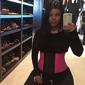 Kourtney Kardashian pink waist trainer garment