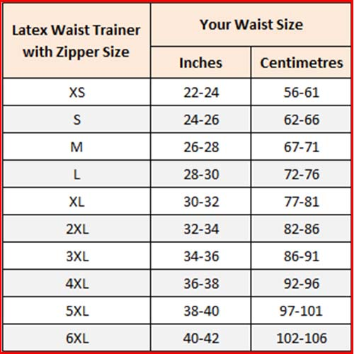 waist trainer size chart sample
